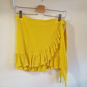 Zara Yellow Cotton Swim Cover Skirt